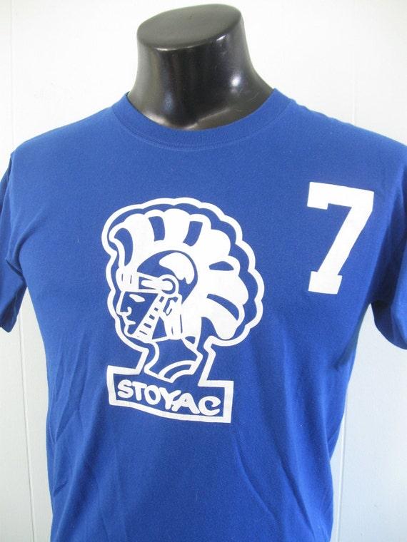 Vintage Soccer Tee Number 7 Cool Design Royal Blue Soccer TShirt SMALL MEDIUM