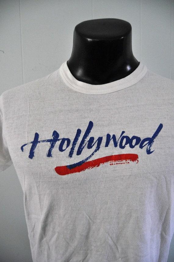 Hollywood Vintage TShirt CA Soft Thin Tee Red White Blue California Medium Small