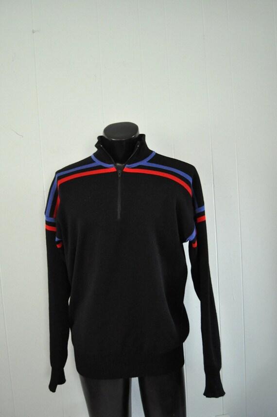 Vintage Ski Athletic Sweater Sweatshirt Soft Black Red Blue Striped Slim LARGE
