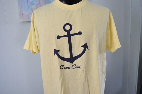 Beach Coverup Vintage Cape Cod Tee Anchor Nautical Sailing Tshirt Light Yellow XL Tall One Size Ladies