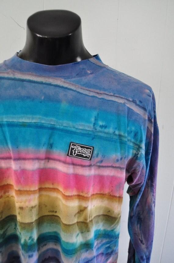 Vintage Long Sleeve TShirt Faded Neon Tie Dye California Surfing Blue Purple Aqua XL