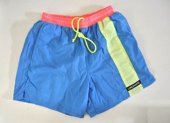 Neon Volleyball Shorts Jams 90s 80s Ladies Mens Unisex MEDIUM