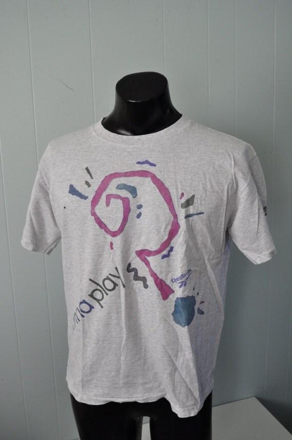 Vintage Reebok TShirt Shirt Running Aerobics Tee Gray Ladies Large