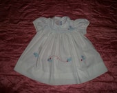 Vtg 60s Imperial Baby Dress Appliqued Kitties Puff Sleeves  Size18 mos