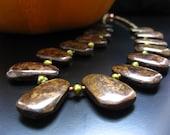Bronzite Fan Bib Necklace - Bronzite and Green Freshwater Pearls