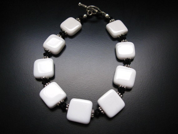 Black and White Bracelet - White Agate Squares, Black Swarovski Crystal Bicones and Pewter Daisy Spacers
