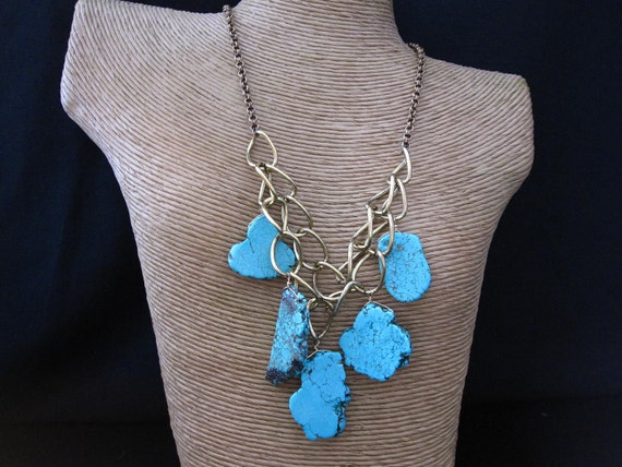 Turquoise Magnesite and Bronze Chain Statement Necklace