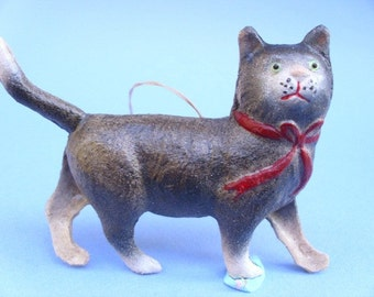 New Dresden Paper Christmas Ornament Black Cat Kitty w Red Bow