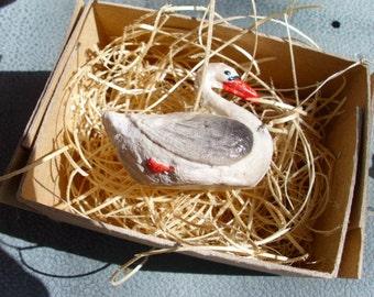 New 3D Dresden Paper Christmas Ornament Mini Black Swan