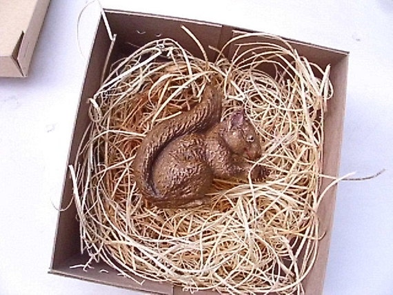 New Dresden Type Christmas Ornament 3D Paper Brown Squirrel W Pinecone