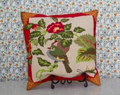 Vintage needlepoint hand-stitched square pillow with doves