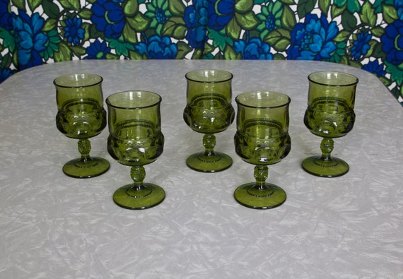5 Green Glass Wine or Water Goblets,  Kings Crown Thumbprint