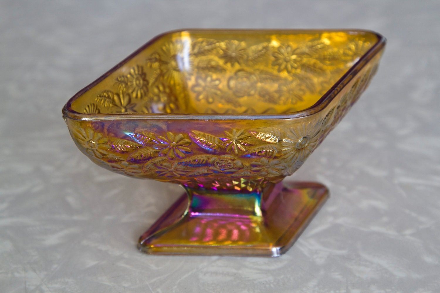 SALE Amber Carnival Glass Candy Dish