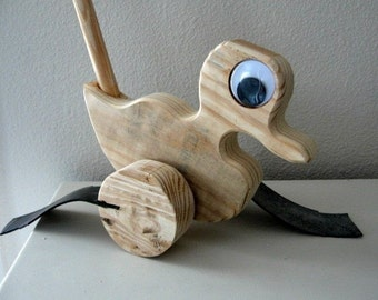 Wooden Push Duck, Wooden Toys, Handcrafted Wooden Toys, Heirloom Toys