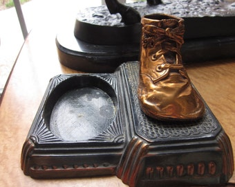 Vintage Bronze Baby Shoe on Deco Stand for Trinkets