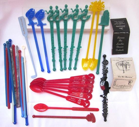 ON RESERVE SALE Large Lot 66 Vintage 1950s Plastic Swizzle Sticks Advertising