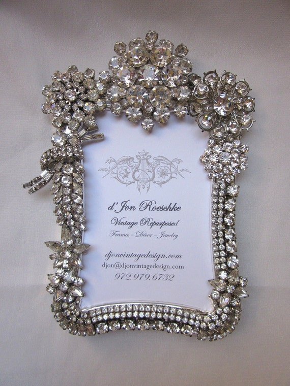 Fabulous Vintage Rhinestone Jewelry Picture Frame