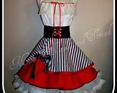 Handmade woman's apron, Pirate theme, Cosplay, costume, parties, fantasy, pin up, sexy, tropical, Navy, kitchen