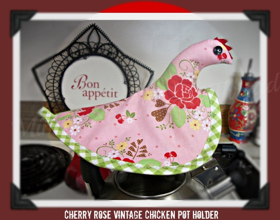 Vintage Cherry Rose handmade Chicken Pot holder