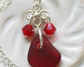 RARE Red Seaglass on Sterling Necklace