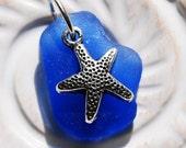 Summer Starfish. Cobalt Blue Seaglass Pendant with Starfish Charm