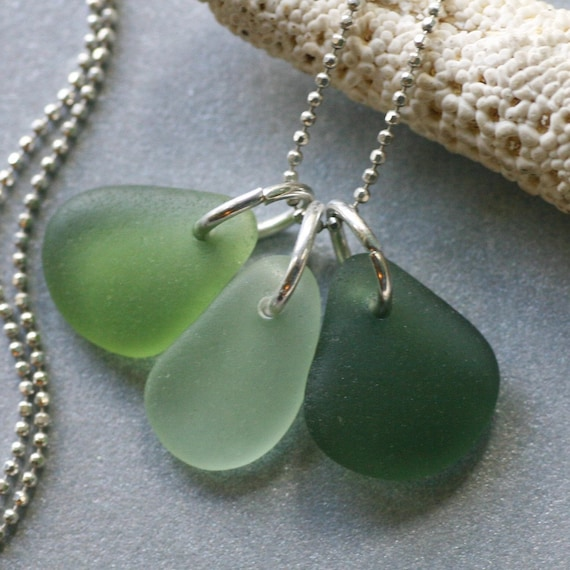 Spring Petals. Three Seaglass Petals on Sterling Silver Chain Necklace