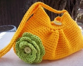 Yellow Gold Crocheted Cotton Pleated Bag with Lime Green Rosette