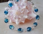 Sale 7 3/4 Inch Deep Turquoise Blue Czech and Multi Faceted Clear Crystal with Ornate Magnetic Clasp Beaded Bracelet