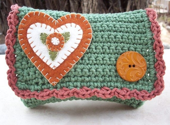 March Sale Item  ~  Crocheted Purse  ~  Camo Green and Paprika with Heart Crocheted Little Bit Purse