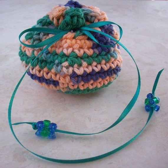 Crocheted Cotton Drawstring Pouch (100 Yen Pouch) in Teal, Peach and Purple