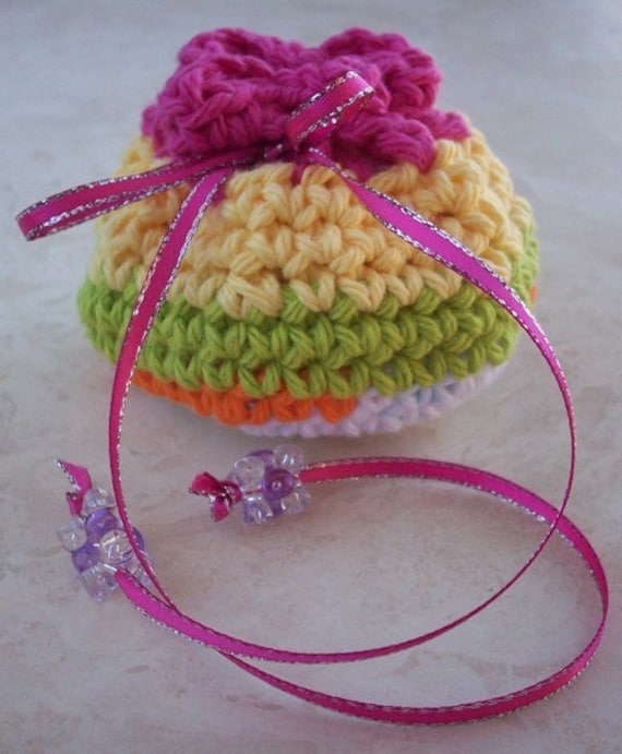 Crocheted Cotton Drawstring Pouch (100 Yen Pouch) in Pink, Yellow, Lime Green and Orange