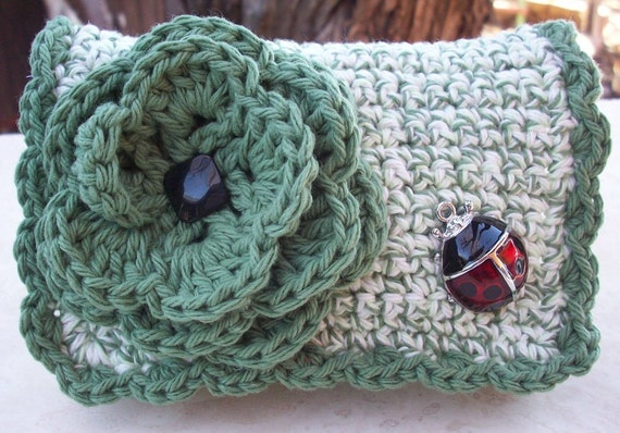 Camo Green and Camo Green Twist with Ladybug Crocheted Cotton Little Bit Purse