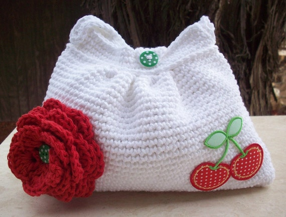 SALE  White and Red With Cherries Crocheted Cotton Pleated Bag