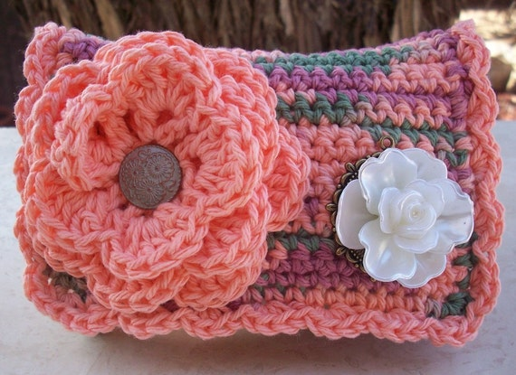 Peach and Coral Reef with White Rose Crocheted Cotton Little Bit Purse