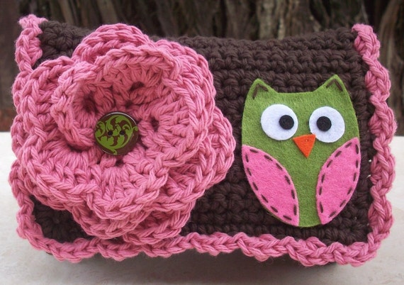 Rose Pink and Chocolate Brown with Olive Owl Crocheted Cotton Little Bit Purse