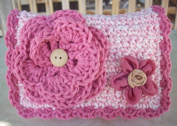 Ice Cream Pink and Ice Cream Pink Tweed with Flower Crocheted Cotton Little Bit Purse