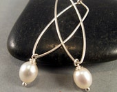 Pearl and Sterling Silver Elongated Hoop Earrings