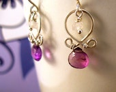 Amethyst, Rainbow Moonstone and Sterling Silver Earrings-On Sale