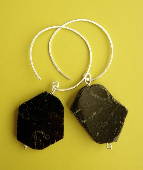 Boldly Beautiful - Black Tourmaline and Sterling Silver Earrings