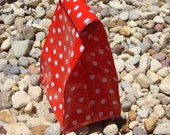 Re-useable Oilcloth Lunch Sack Red with White Polka Dot