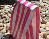 Re-useable Oilcloth Lunch Sack - Hot Pink Stripe