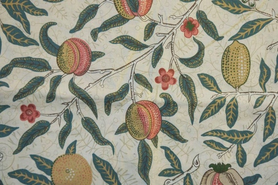 Piece of fruit and foliage cream vintage liberty upholstery fabric