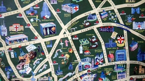 Vintage daily telegraph picture map of London