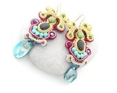 statement chandelier  earrings - Copacabana color block , turquoise black and pink soutache , free shipping