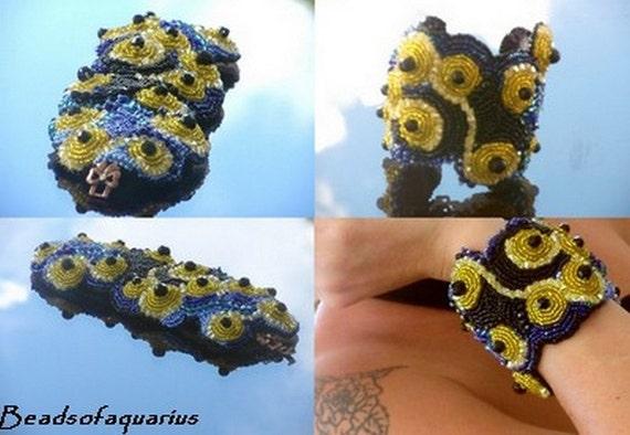 Black and yellow swarovski bracelet , one of a kind