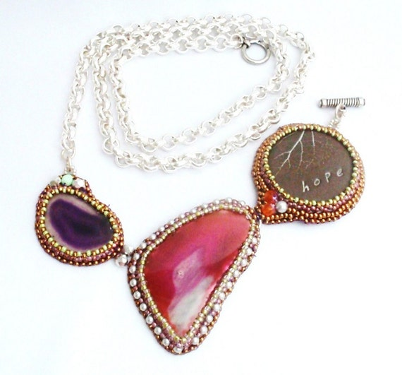 Statement Pink Agate  Necklace - Penelope -