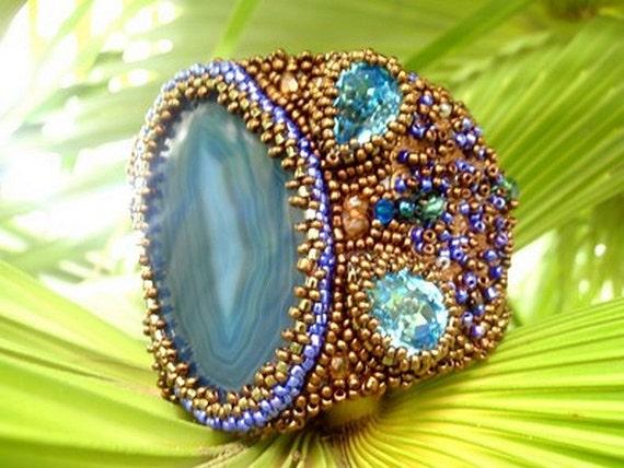 Statement bead embroidered cuff ,  agate bracelet , spring summer bracelet