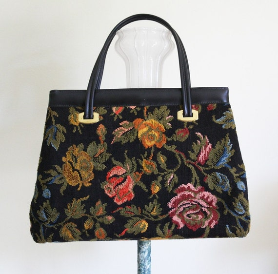 Sale Vintage Floral Leather Carpet Bag Purse Handbag Mary