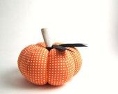 Orange and White Polka Dot Pumpkin Pincushion