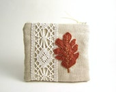 Autumn Leaf Linen Zipper Pouch